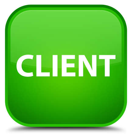 Client isolated on special green square button abstract illustration