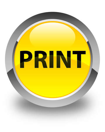 Print isolated on glossy yellow round button abstract illustration