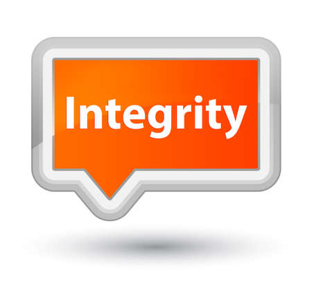 Integrity isolated on prime orange banner button abstract illustration
