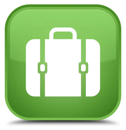 Bag icon isolated on special soft green square button abstract illustration