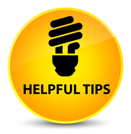 Helpful tips (bulb icon) isolated on elegant yellow round button abstract illustration