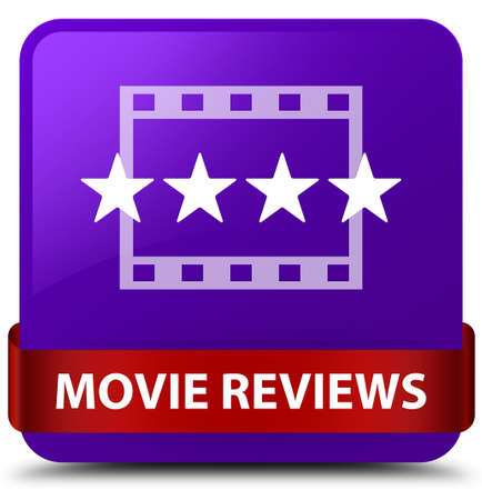 Movie reviews isolated on purple square button with red ribbon in middle abstract illustration