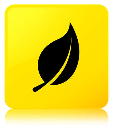 Leaf icon isolated on yellow square button reflected abstract illustration Stock Photo