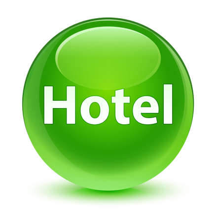 Hotel isolated on glassy green round button abstract illustration