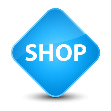 Shop isolated on elegant cyan blue diamond button abstract illustration