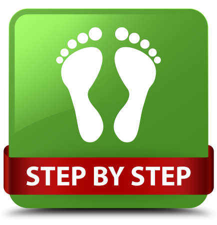 Step by step (footprint icon) isolated on soft green square button with red ribbon in middle abstract illustration