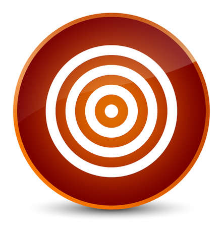 Target icon isolated on elegant brown round button abstract illustration