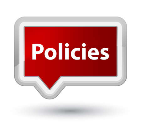 Policies isolated on prime red banner button abstract illustration