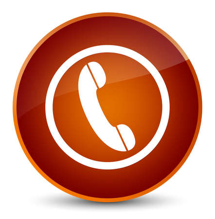Phone icon isolated on elegant brown round button abstract illustration
