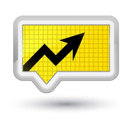Business graph icon isolated on prime yellow banner button abstract illustration Stock Photo