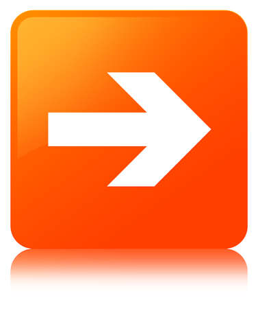 Next arrow icon isolated on orange square button reflected abstract illustration