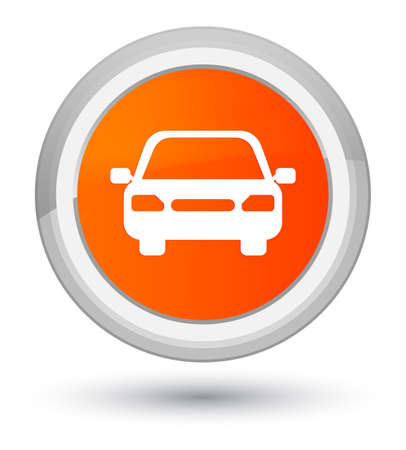 Car icon isolated on prime orange round button abstract illustration