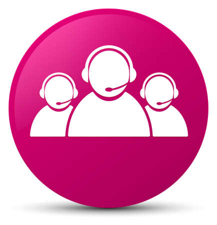 representative: Customer care team icon isolated on pink round button abstract illustration Stock Photo