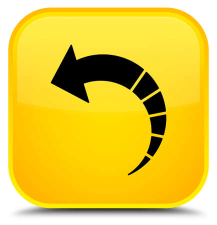 Back arrow icon isolated on special yellow square button abstract illustration