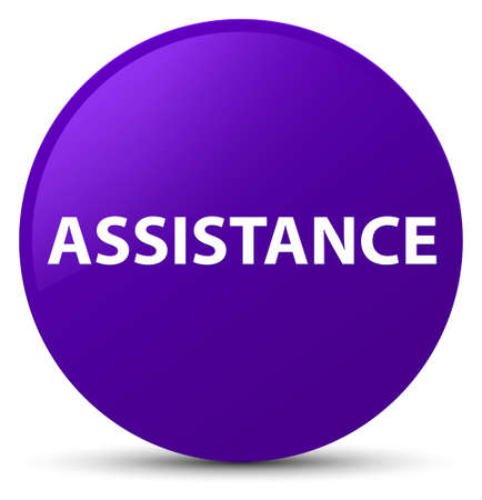 Assistance isolated on purple round button abstract illustration