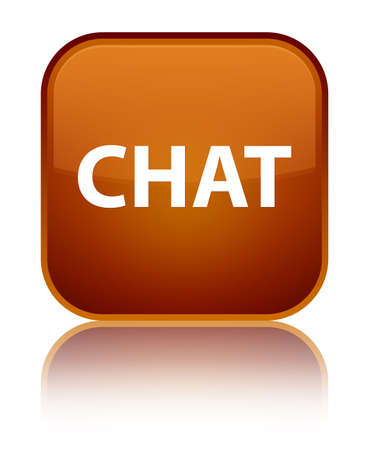 Chat isolated on special brown square button reflected abstract illustration