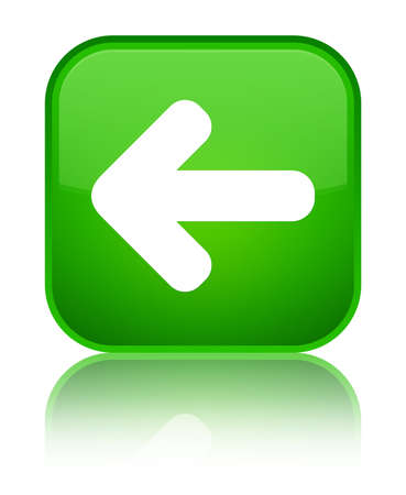 Back arrow icon isolated on special green square button reflected abstract illustration