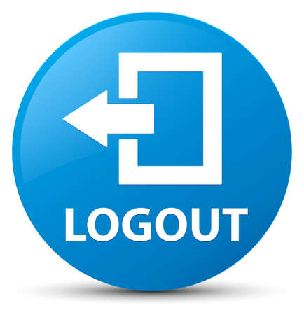 Logout isolated on cyan blue round button abstract illustration Stock Photo