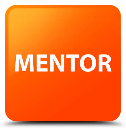 Mentor isolated on orange square button abstract illustration