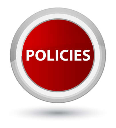 Policies isolated on prime red round button abstract illustration