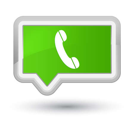 Phone icon isolated on prime soft green banner button abstract illustration