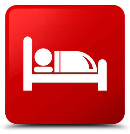 nap: Hotel bed icon isolated on red square button abstract illustration