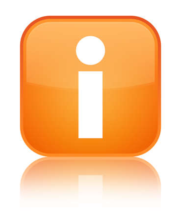 about: Info icon isolated on special orange square button reflected abstract illustration