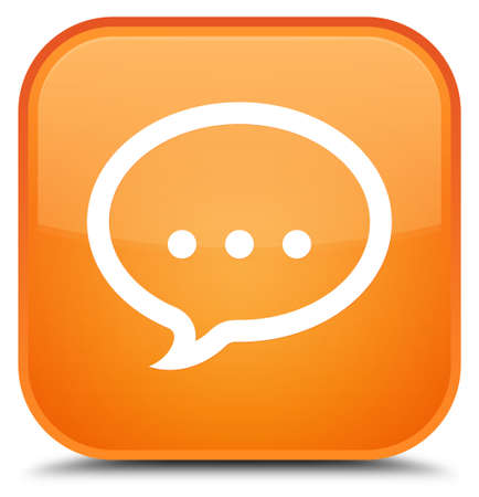 Talk icon isolated on special orange square button abstract illustration Stock Photo