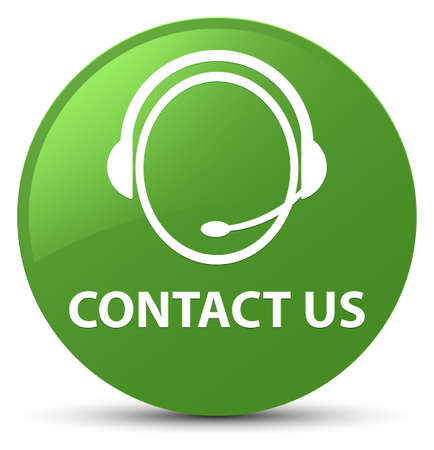 Contact us (customer care icon) isolated on soft green round button abstract illustration Stock Photo