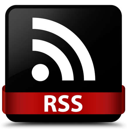 RSS isolated on black square button with red ribbon in middle abstract illustration Stock Photo
