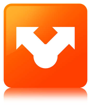 Share icon isolated on orange square button reflected abstract illustration