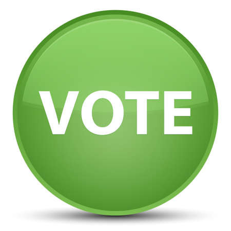Vote isolated on special soft green round button abstract illustration