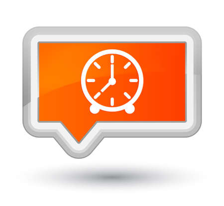 Clock icon isolated on prime orange banner button abstract illustration