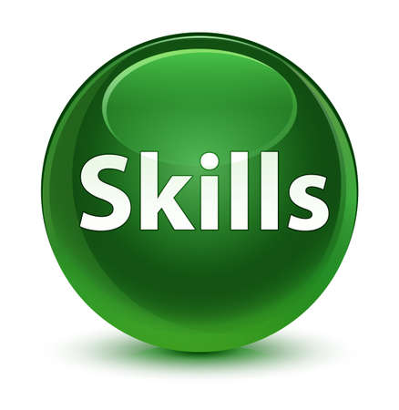 Skills isolated on glassy soft green round button abstract illustration Stock Photo