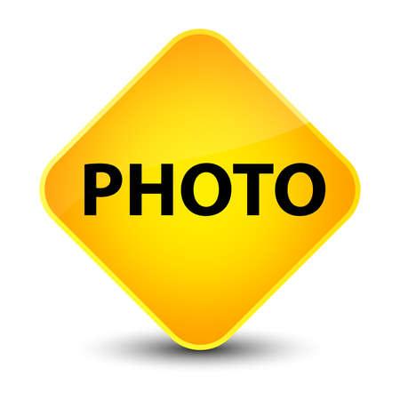 Photo isolated on elegant yellow diamond button abstract illustration
