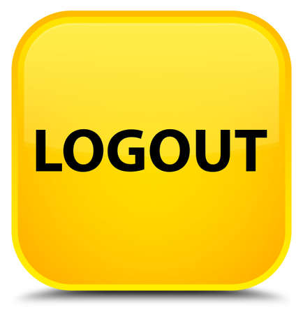Logout isolated on special yellow square button abstract illustration Stock Photo