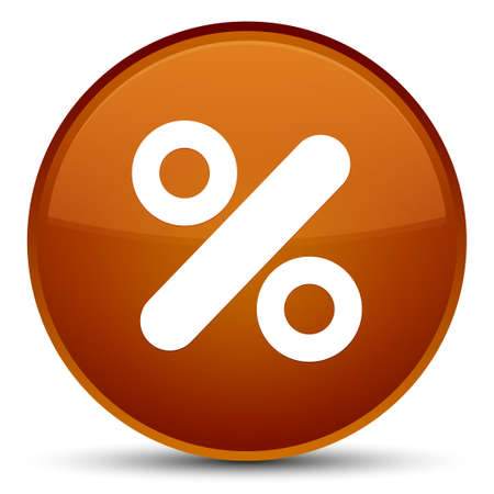 percent: Discount icon isolated on special brown round button abstract illustration