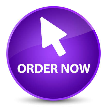 Order now (cursor icon) isolated on elegant purple round button abstract illustration Stock Photo