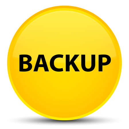 Backup isolated on special yellow round button abstract illustration Stock Photo