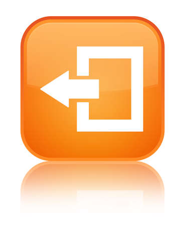Logout icon isolated on special orange square button reflected abstract illustration