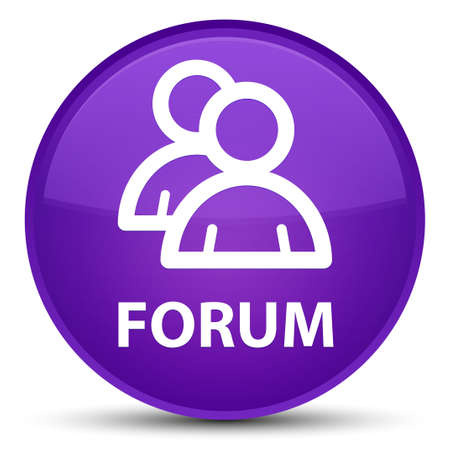 Forum (group icon) isolated on special purple round button abstract illustration Stock Photo