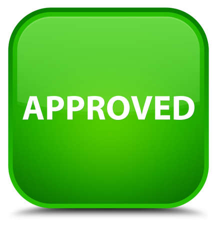 Approved isolated on special green square button abstract illustration