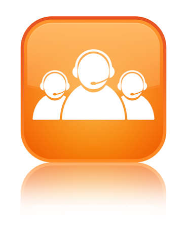 Customer care team icon isolated on special orange square button reflected abstract illustration