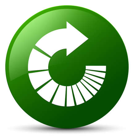 Rotate arrow icon isolated on green round button abstract illustration Stock Photo