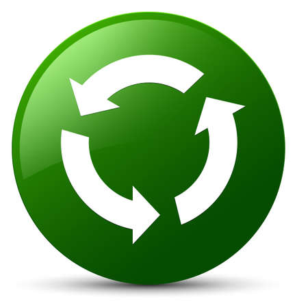 Refresh icon isolated on green round button abstract illustration