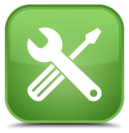 Tools icon isolated on special soft green square button abstract illustration