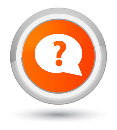 Question mark bubble icon isolated on prime orange round button abstract illustration