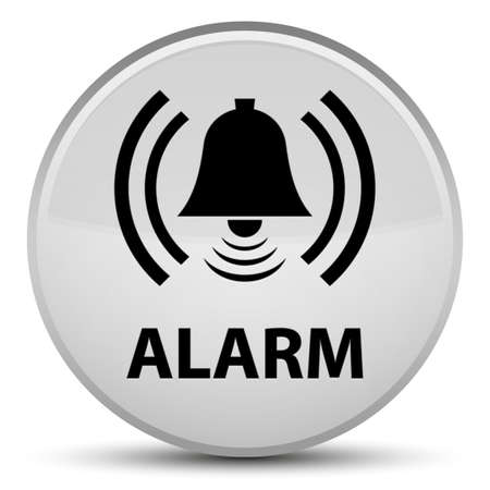 Alarm (bell icon) isolated on special white round button abstract illustration Stock Photo