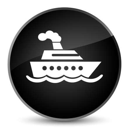 Cruise ship icon isolated on elegant black round button abstract illustration Stock Photo