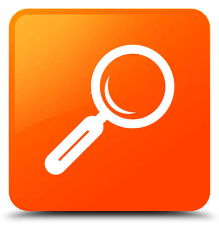 Magnifying glass icon isolated on orange square button abstract illustration Stock Photo